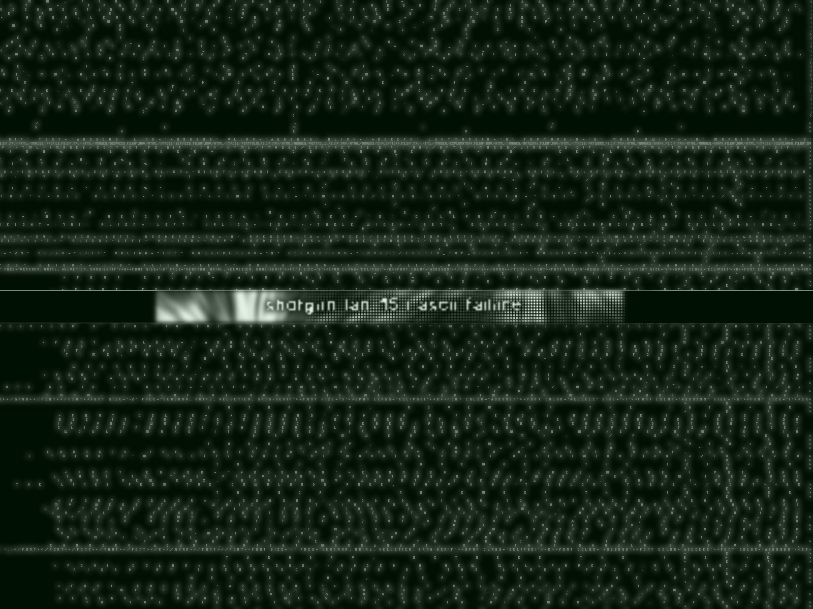 A green version of the ASCII Failure shotgun 15 wallpaper. b7ae49067