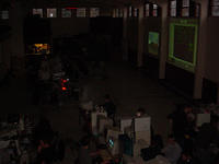 Good shot of the venue overall, showing both projectors and seating.
