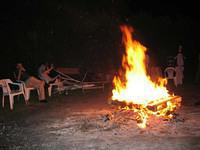 A very hot bonfire...and me cowering like a girl